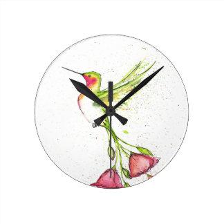 Horloge Ronde colibri de queue de fleur