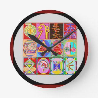 Horloge Ronde Collection curative de symbole d'Art101 Reiki n