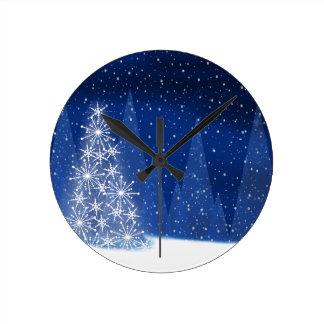 Horloge Ronde Conception de vacances d'arbre de Noël de nuit de