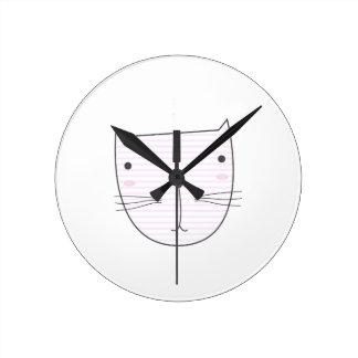 Horloge Ronde Conception mignonne de chaton sur le blanc