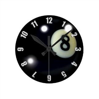 Horloge Ronde Conception noire d'horloge du jeu 8-Ball