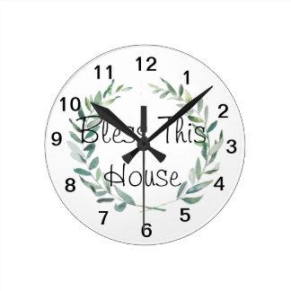 Horloge Ronde Conception rustique de guirlande de magnolia
