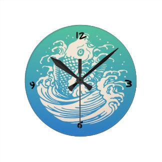 Horloge Ronde Conception vintage bleue d'art de poissons
