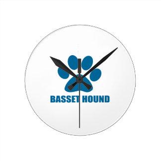 HORLOGE RONDE CONCEPTIONS DE CHIEN DE BASSET HOUND