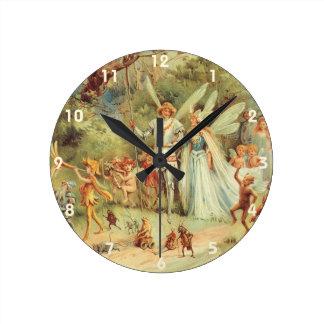 Horloge Ronde Contes de fées vintages, Thumbelina et prince