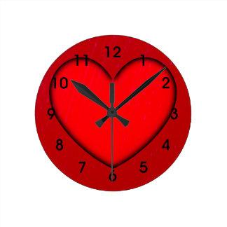 Horloge Ronde Contour rouge d'ombre du coeur w/Black
