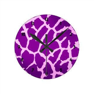 Horloge Ronde Copie pourpre de girafe