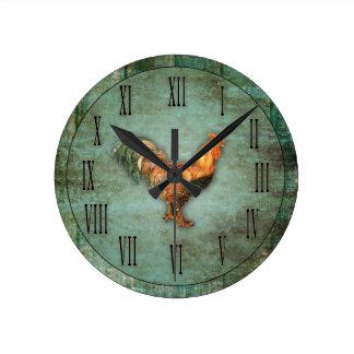 Horloge Ronde Coq et bois français de Faux