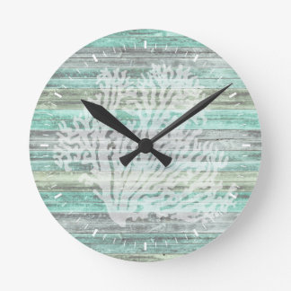 Horloge Ronde Corail côtier rustique de décor