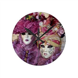 Horloge Ronde Costume pourpre de carnaval, Venise