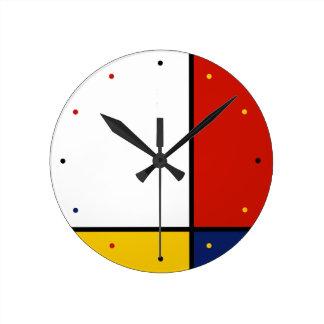 Horloge Ronde Couleurs géométriques d'art de Mondrian