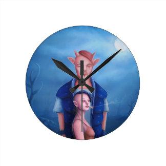Horloge Ronde Couples de démon dans la forêt hantée