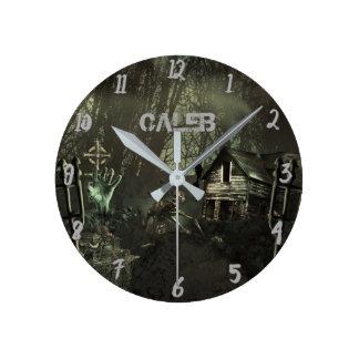 Horloge Ronde Coutume d'horreur de Shack Halloween de zombi