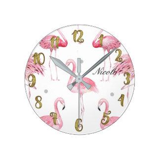 Horloge Ronde Coutume minimale chic de pois gris rose de