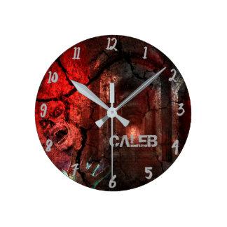 Horloge Ronde Coutume rouge d'horreur de Halloween de zombi