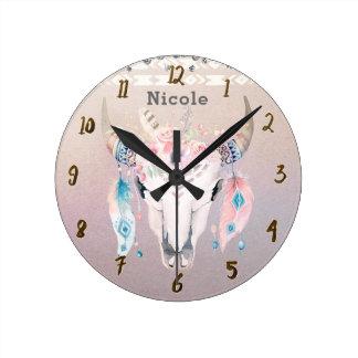 Horloge Ronde Coutume rustique florale chic assez iridescente de