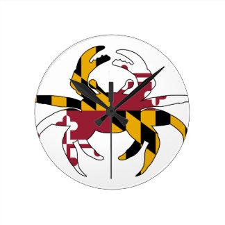Horloge Ronde Crabe de drapeau du Maryland