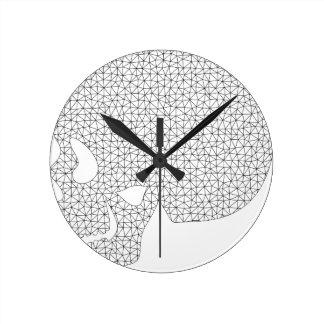 Horloge Ronde Crâne de Wireframe