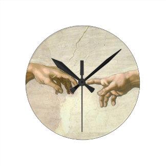 Horloge Ronde Création des mains d'Adam - Michaël Angelo