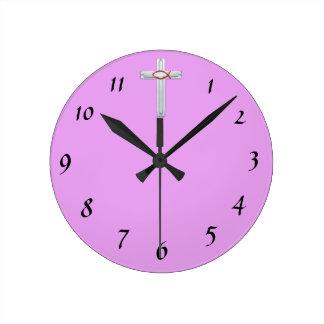 Horloge Ronde Croix rouge d'Ichthus