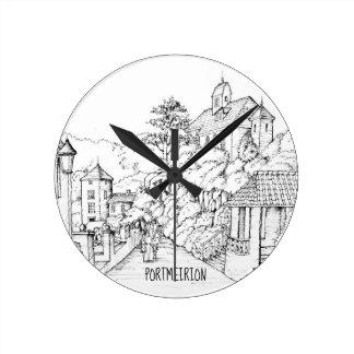Horloge Ronde Croquis à l'encre du nord de Portmeirion Pays de