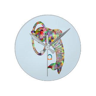 Horloge Ronde Dauphin 3D coloré
