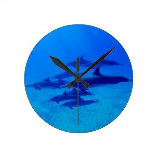 Horloge Ronde Dauphins nageant en mer bleue
