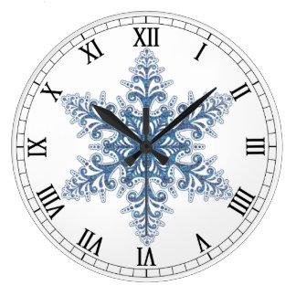 Horloge ronde de chiffres romains de flocon de
