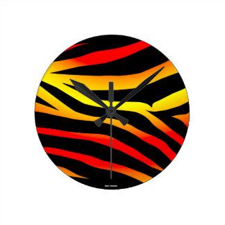 Horloge ronde de motif de poster de animal de