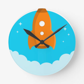 Horloge Ronde Décollage de bateau de Rocket