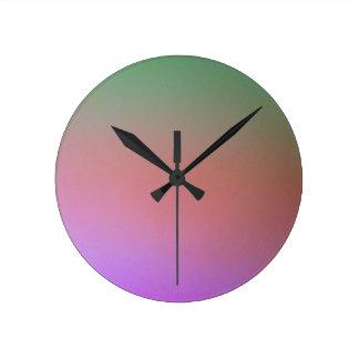 Horloge Ronde décor pourpre rose vert de conception