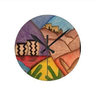 Horloge Ronde Désert coloré Arizona de sud-ouest d'arc-en-ciel