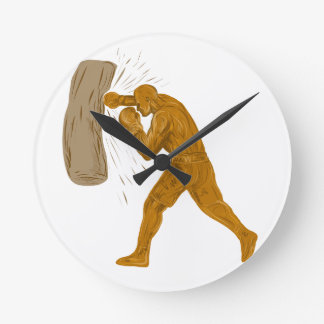 Horloge Ronde Dessin de sac de sable à boxeur