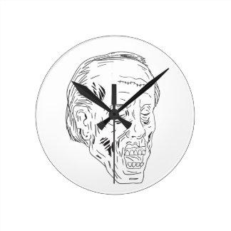 Horloge Ronde Dessin fermé de yeux principaux de zombi