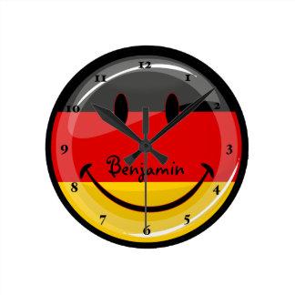 Horloge Ronde Drapeau allemand de sourire
