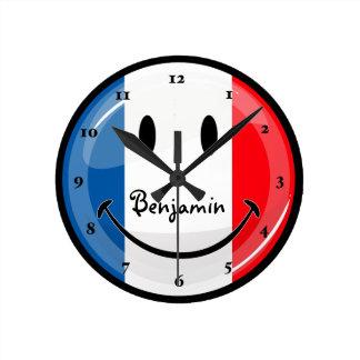 Horloge Ronde Drapeau français de sourire