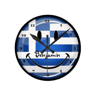 Horloge Ronde Drapeau grec de sourire