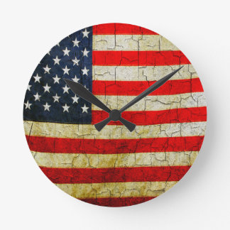 Horloge Ronde Drapeau grunge de l'Amérique