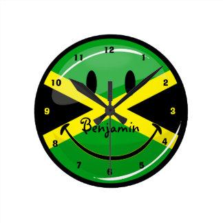 Horloge Ronde Drapeau jamaïcain de sourire