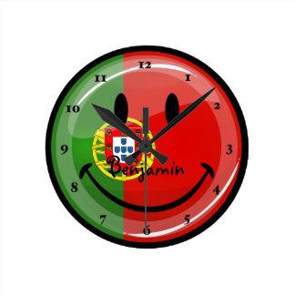 Horloge Ronde Drapeau portugais de sourire