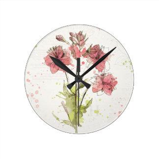 Horloge Ronde Éclaboussure rose foncée florale