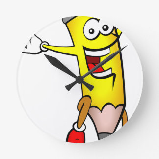 Horloge Ronde Écriture sautante heureuse d'école de crayon