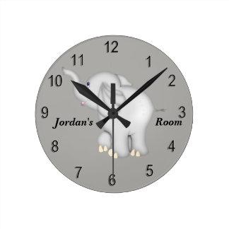 Horloge Ronde Éléphant mignon de bébé de l'horloge de l'enfant