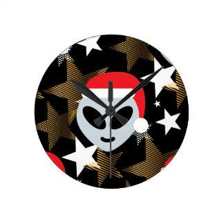 Horloge Ronde emoji d'alien de père Noël