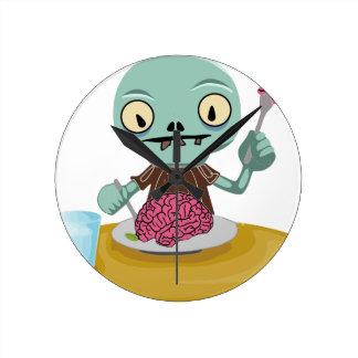 Horloge Ronde enfant de zombi mangeant le cerveau