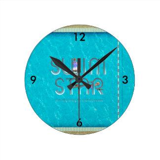Horloge Ronde Étoile SUPÉRIEURE de bain