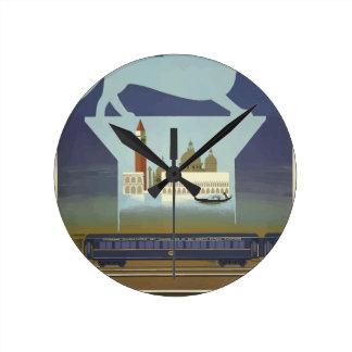 Horloge Ronde Express vintage de Venise l'orient de voyage