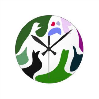 Horloge Ronde fantôme coloré
