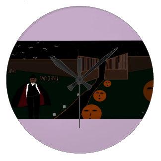 horloge ronde fantôme de Halloween