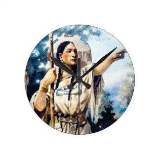 Horloge Ronde femme indienne de squaw